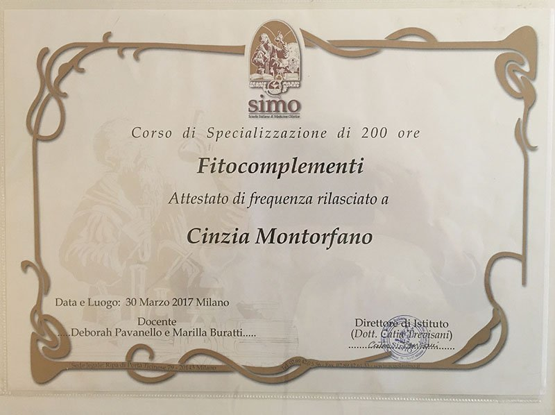Attestato Fitocomplementi Cinzia Montorfano Naturopata